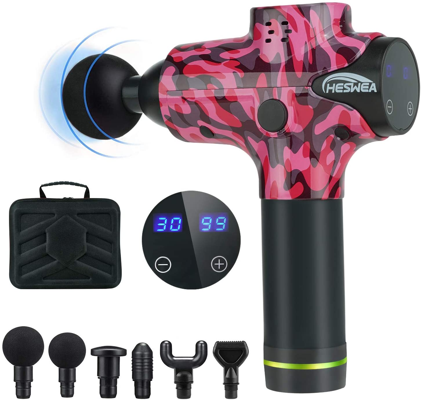 HESWEA Muscle Massage Gun,Portable Percussion Muscle Massage for Athletes,Handheld Electric Body Massager Deep Tissue Sports Drill with 30 Adjustable Speed and 6 Heads Helps Relieve Soreness