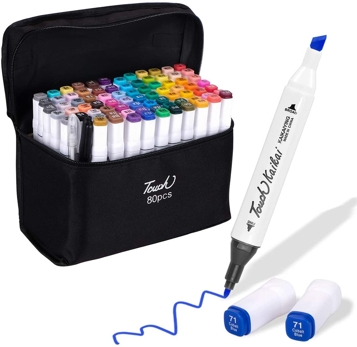 Indoor Ultima 40 Colors Dual Tip Art Permanent Markers Set, Advanced Brush Markers Pen Perfect for Artists Drawing,Sketching,Card Making, Fineliner, Colorless Blender,Carrying bag Included