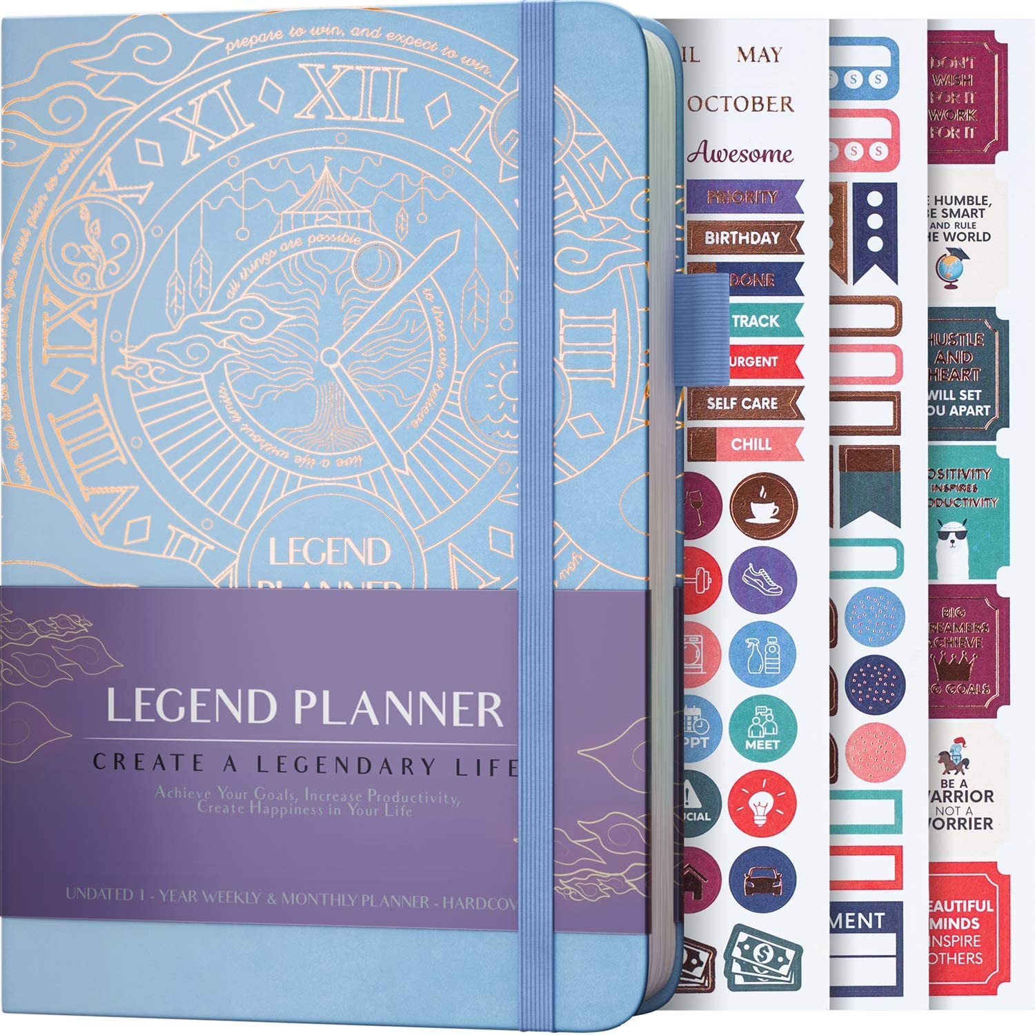 Legend Planner - Deluxe Weekly & Monthly Life Planner to Hit Your Goals & Live Happier. Organizer Notebook & Productivity Journal. A5 Hardcover, Undated - Start Any Time + Stickers - Periwinkle Gold