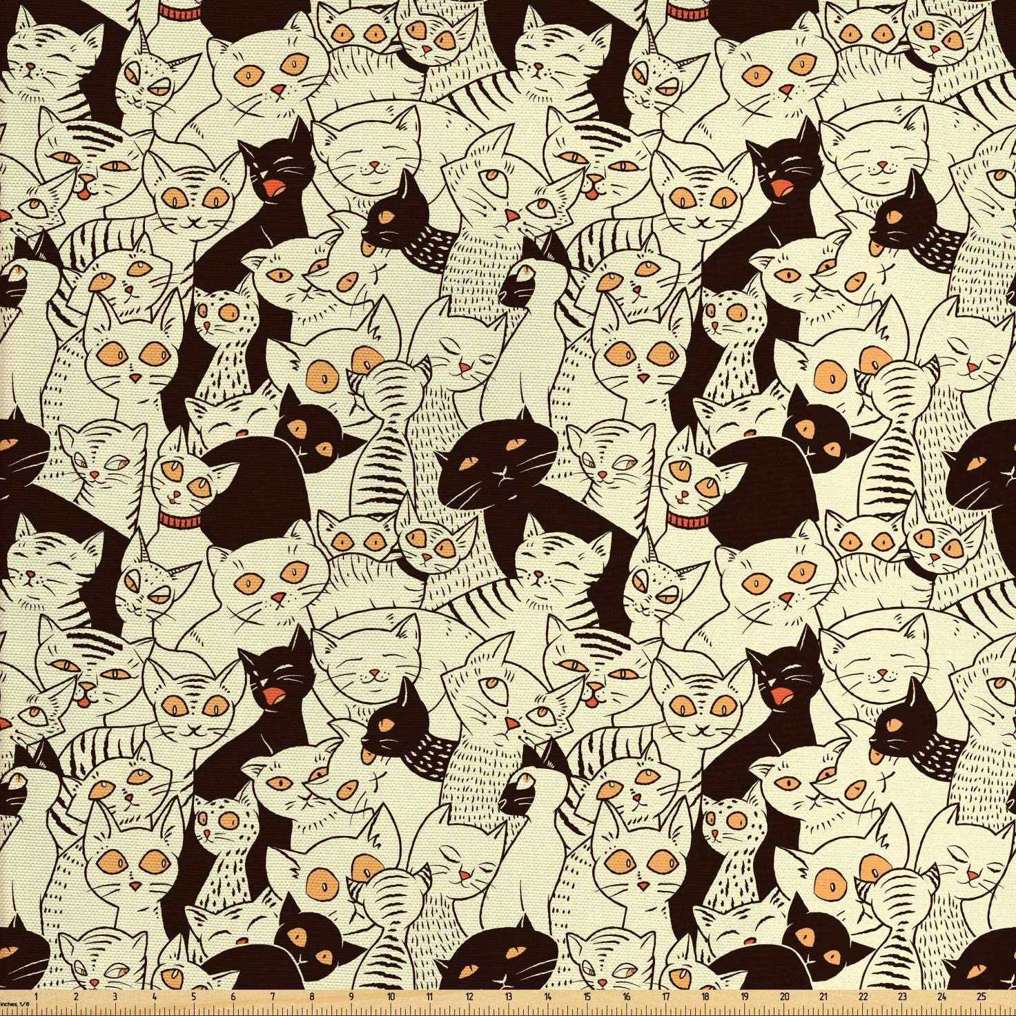 Lunarable Cat Fabric by The Yard, Modern Big Eyed Funk Style Kitties with Retro Influences Animal Graphic, Decorative Fabric for Upholstery and Home Accents, 3 Yards, Yellow Black