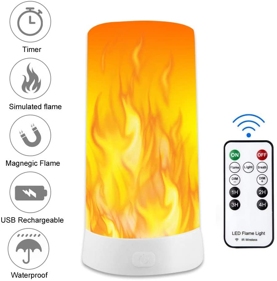 Led Flame Effect Light with Remote Timer USB Rechargeable Table Lamp, 3 Modes with Magnetic Base XIANRUI Decorative Night Lights for Home Party Camping Hotel Bar