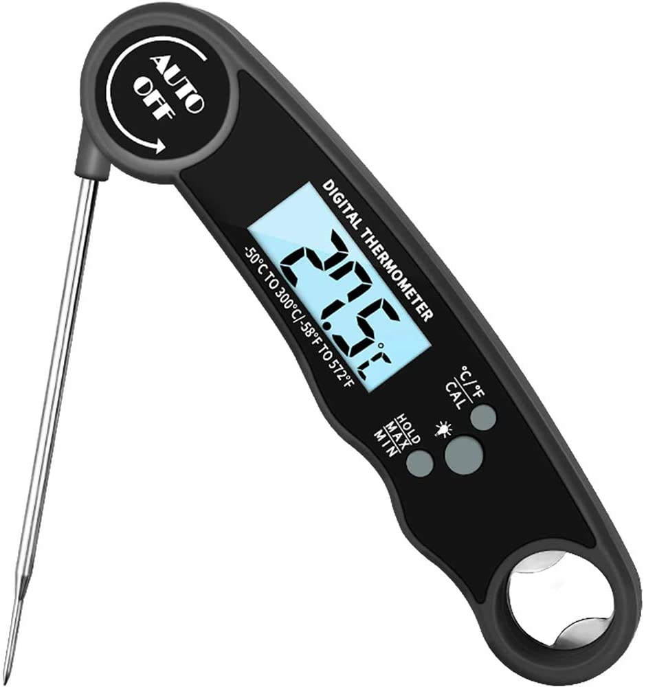 Waterproof Instant Read Meat Thermometer-Ultra Fast Food Thermometer with Backlight & Calibration, Digital Meat Thermometer Waterproof for Grilling and Cooking, Candy, Beef, Cakes, BBQ (Black)