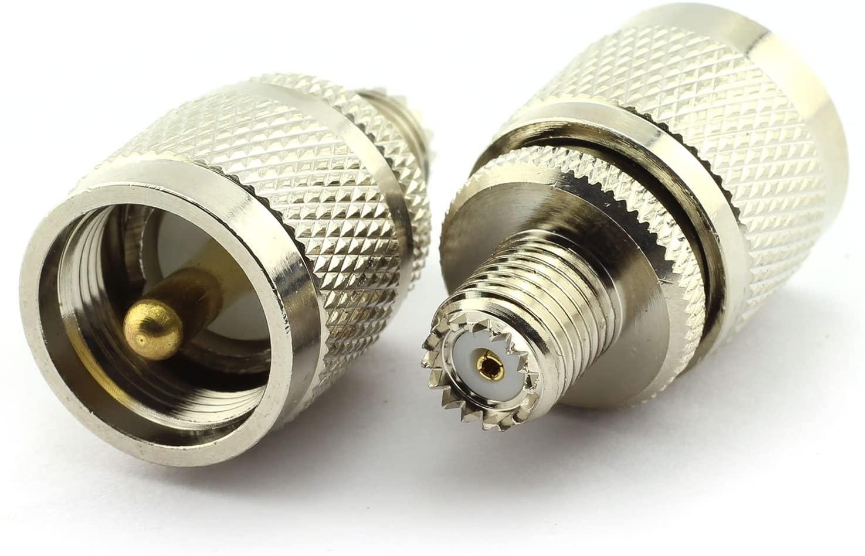E-outstanding 2 x UHF/Mini UHF Type Adapter UHF-Male Plug to Mini UHF-Female Jack RF Coaxial Antennas Connector Straight