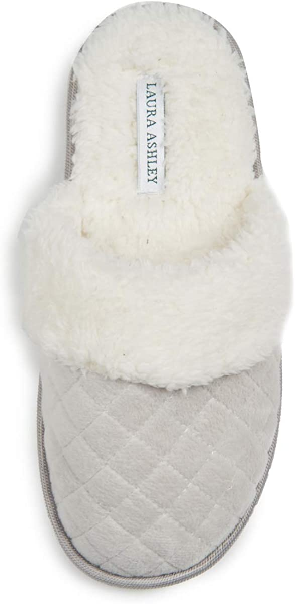 Laura Ashley Ladies Spa Diamond Velour Terry W/Faux Fur Slippers