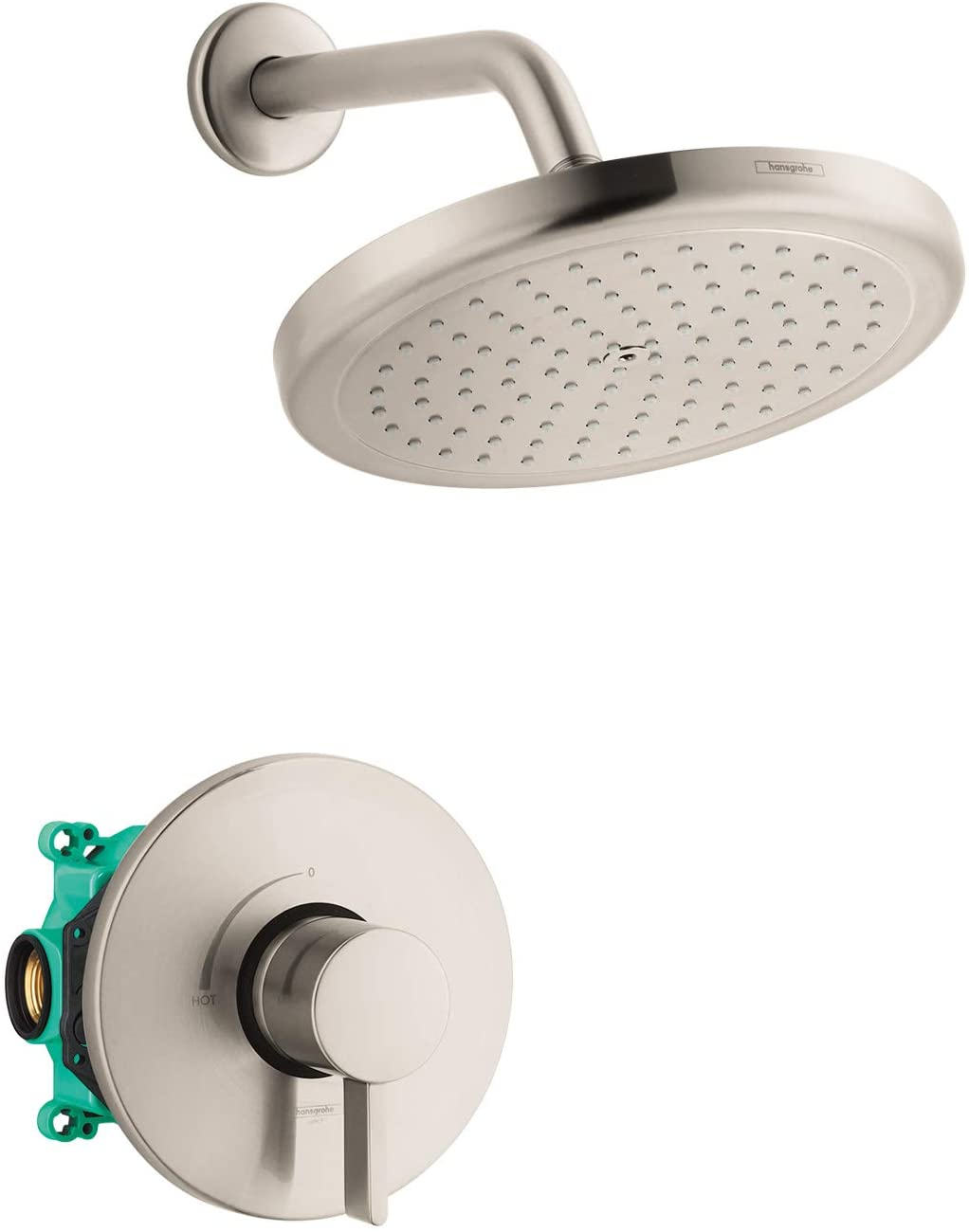 hansgrohe Croma Complete Shower System Shower Set Modern 1-Spray in Brushed Nickel, Rough and Shower Valve Included 2 GPM, 04909820