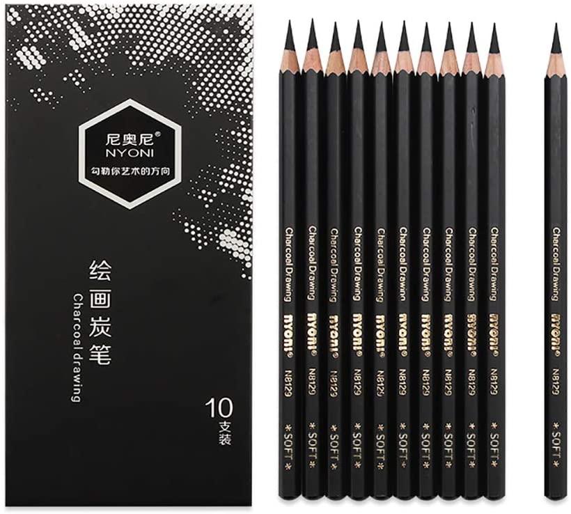 10 PCS/Pack Artist Charcoal Pencils - Black Color Soft Medium Hard - White Pastel Color - Black Charcoal White Pastel Drawing Pencils (Soft)