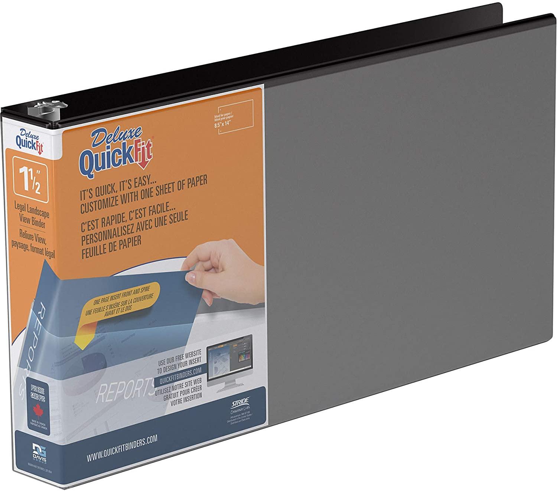 QuickFit Heavy Duty 8.5 x 14 Inch Landscape Spreadsheet View Binder, 1.5 Inch, Round Ring, Black (95021L)