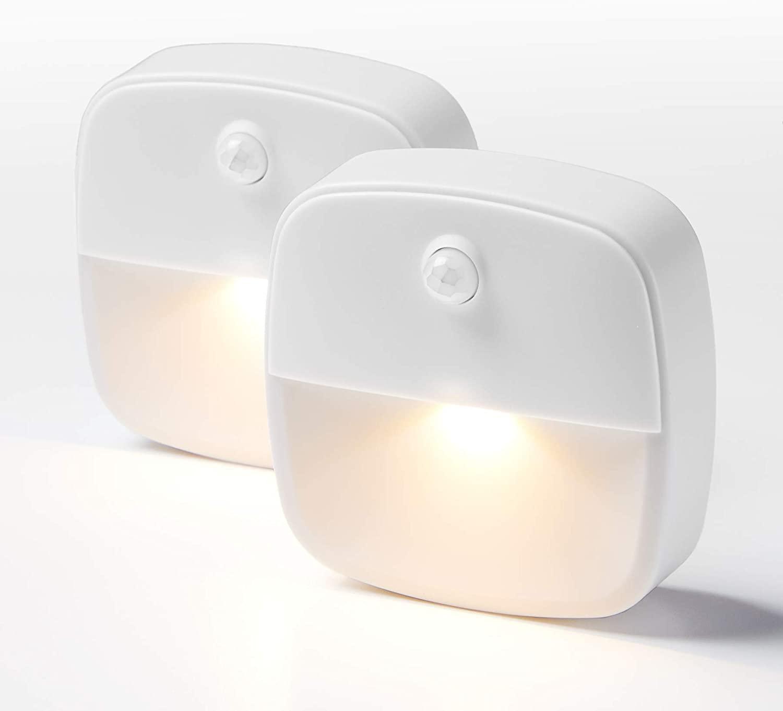 Merkury Innovations Stick-On Night Light, Warm White LED, Motion Sensor, Stick-Anywhere, Closet Light, Wall Light for Bedroom, Bathroom, Kitchen, Hallway, Stairs, Energy Efficient, Compact, 2 Pack