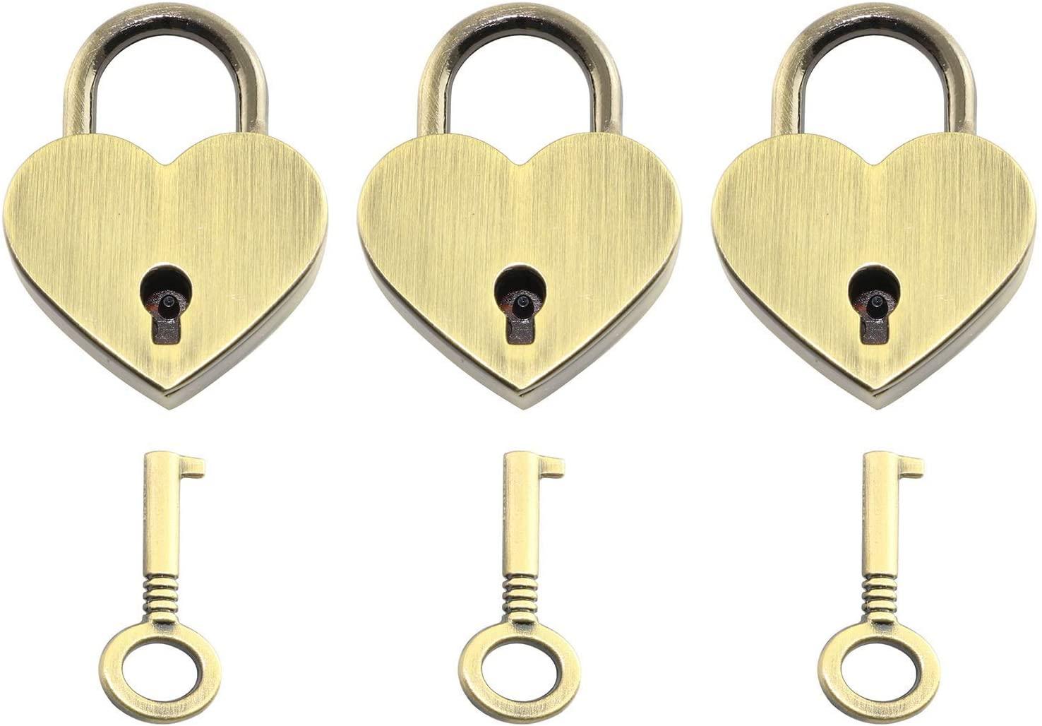 Weyoo 3pcs Small Metal Heart Shaped Padlock Mini Lock with Key for Jewelry Box Storage Box Diary Book (Brass)