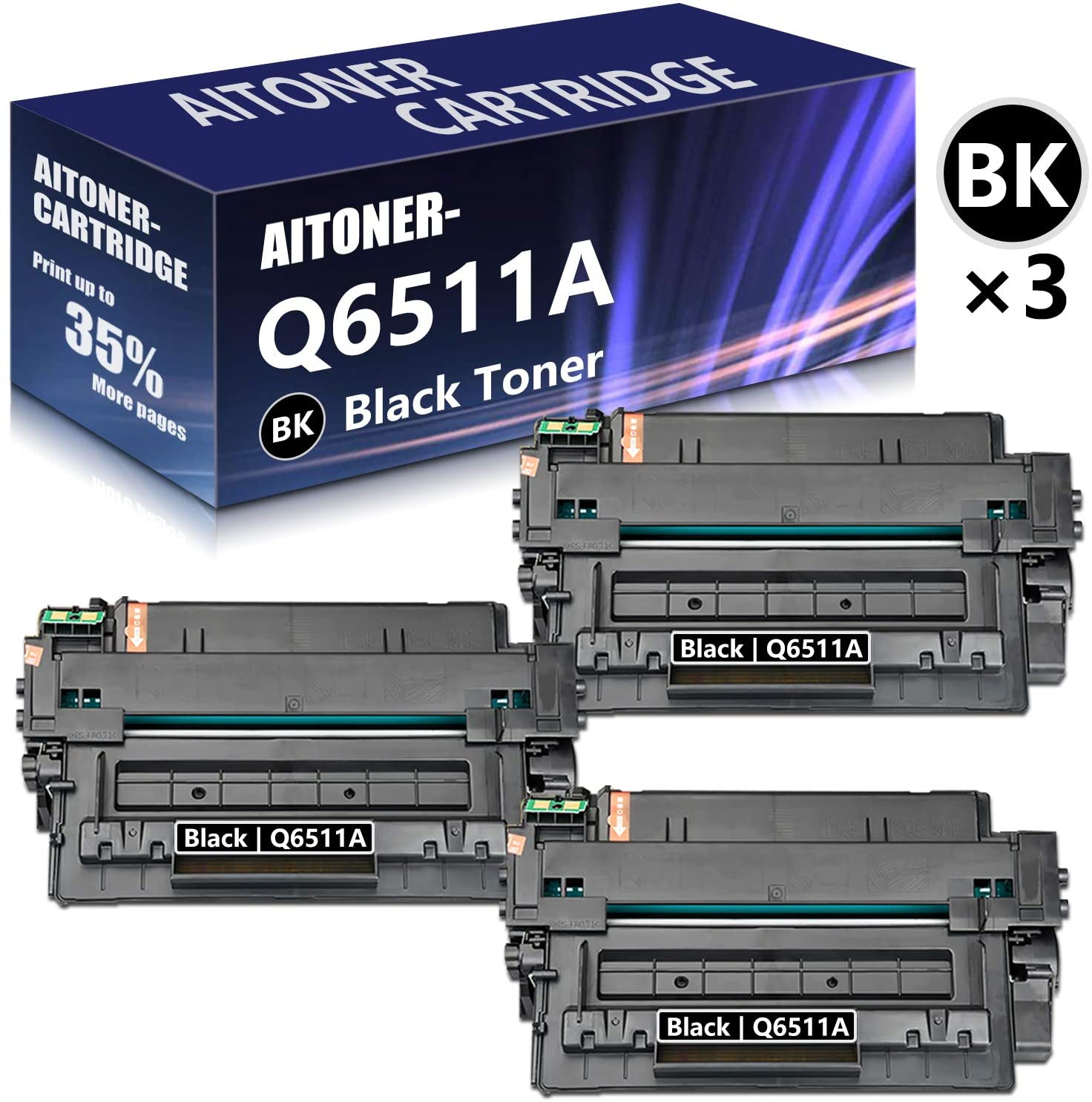 3 Pack (Black) 11A | Q6511A Toner Cartridge Replacement for HP Laserjet 2410 2430 2430n 2430dtn 2430tn 2420dn 2420n 2420d 2420 Printers,Sold by AlToner.