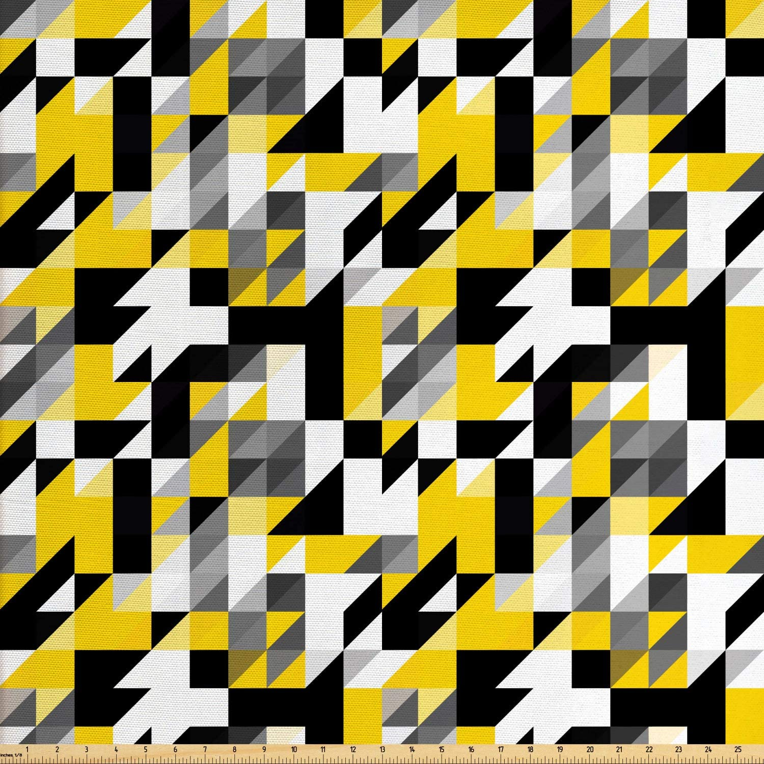Ambesonne Yellow and White Fabric by The Yard, Geometric Design with Triangles Squares and Houndstooh Inspiration, Decorative Fabric for Upholstery and Home Accents, 1 Yard, Yellow Black