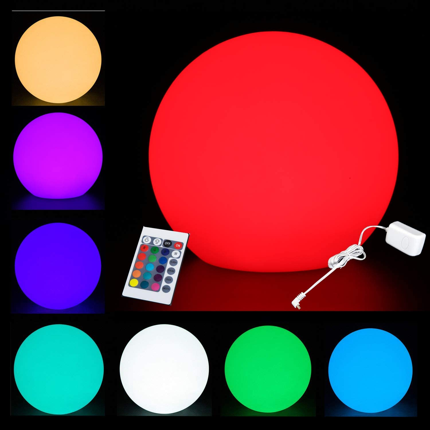 RISINGSUN LED Night Light Mood Lamp 16 Multicolor 8'' Ball Dimmable with Remote Control Cool Color Changing for Indoor Outdoor Parties Home & Bar and Party & Garden & Pool & Patio Ambient