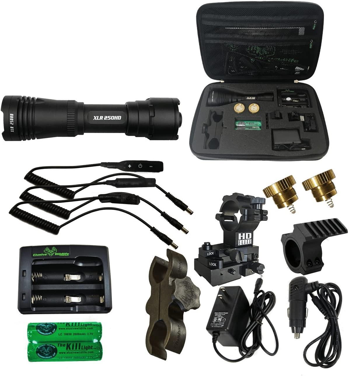 Elusive Wildlife Kill Light HD Series Hunting Gun Light Package 250HD 500HD 750HD