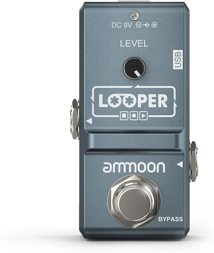 ammoon AP-09 Nano Loop Electric Guitar Effect Pedal Looper True Bypass Unlimited Overdubs 10 Minutes Recording with USB Cable-Black