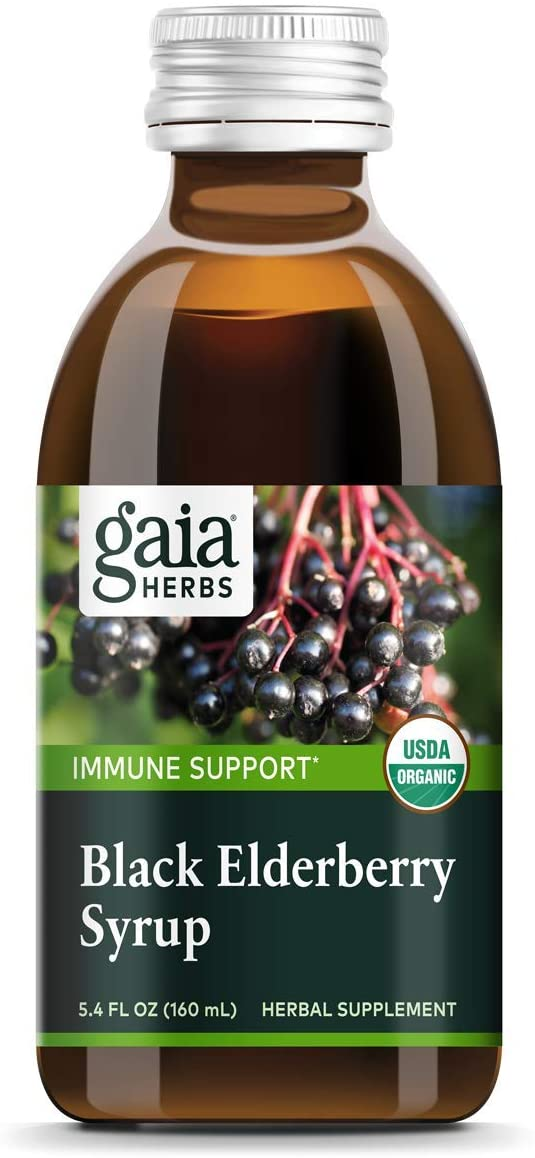 Gaia Herbs, Black Elderberry Syrup, Daily Immune Support with Antioxidants, Organic Sambucus Elderberry Supplement, 5.4 Fl Oz (Pack of 1)