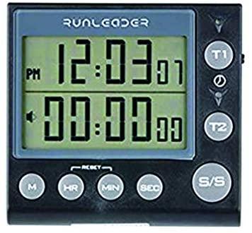 Jayron 2-Channel Timer with clock kitchen timer alarm clock Digital Minute/Second Timer desk clock electric clock for cooking, Baking Sports Games Office (Black)