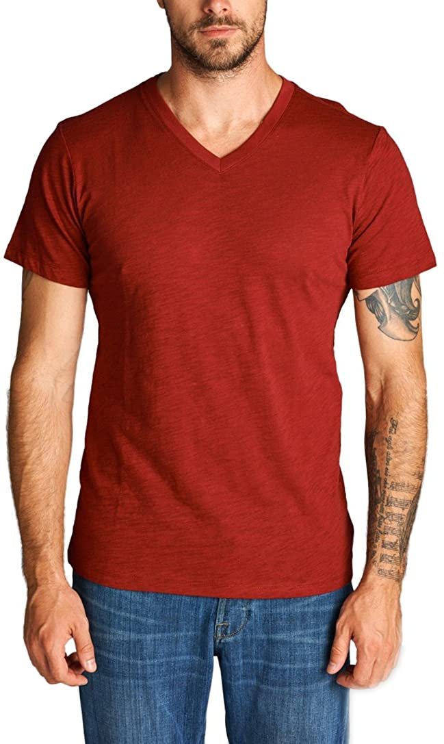 ToBeInStyle Men's Short Sleeve V-Neckline Slub Cotton T-Shirt