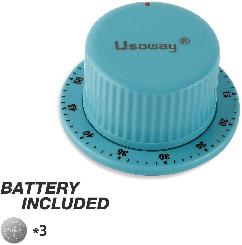 Usoway Kitchen Timer Smart Knob Timer with Two Sets of High Viscosity Adhesive,Kitchen Cooking Timer Reminder,LED Flashing Reminder and High-Decibel Sound Reminder,Timer,Time Management Timer (Blue)