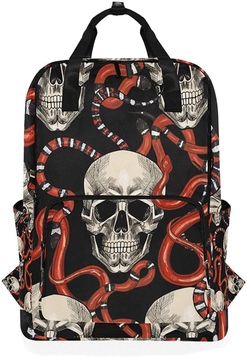 Retro Skull Red Snakes Animal Hallowmas Backpack School Travel Daypack Laptop College Bookbag 14 Inch Doctor Bag