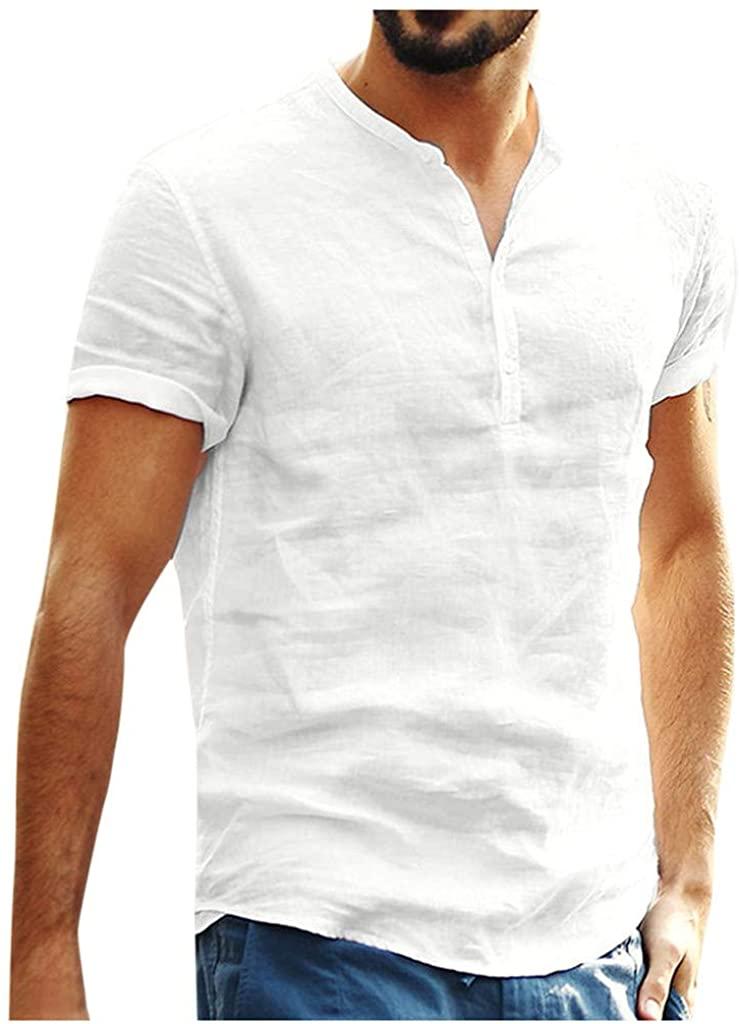 FANSHONN Men's Solid Color Cotton Linen Short Sleeve Henley Shirt Summer Casual Baggy T-Shirt Tops
