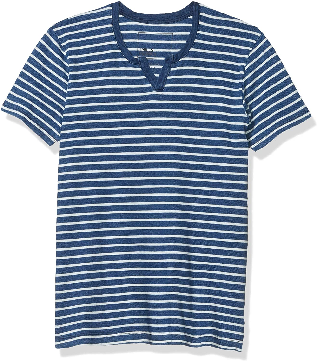 Splendid Mills Men's Short Sleeve Henley Striped Tee