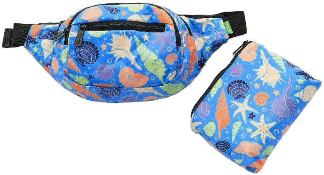Eco Chic Lightweight Waterproof Foldable Waist Pack/Travel Bag (Seashells Blue)