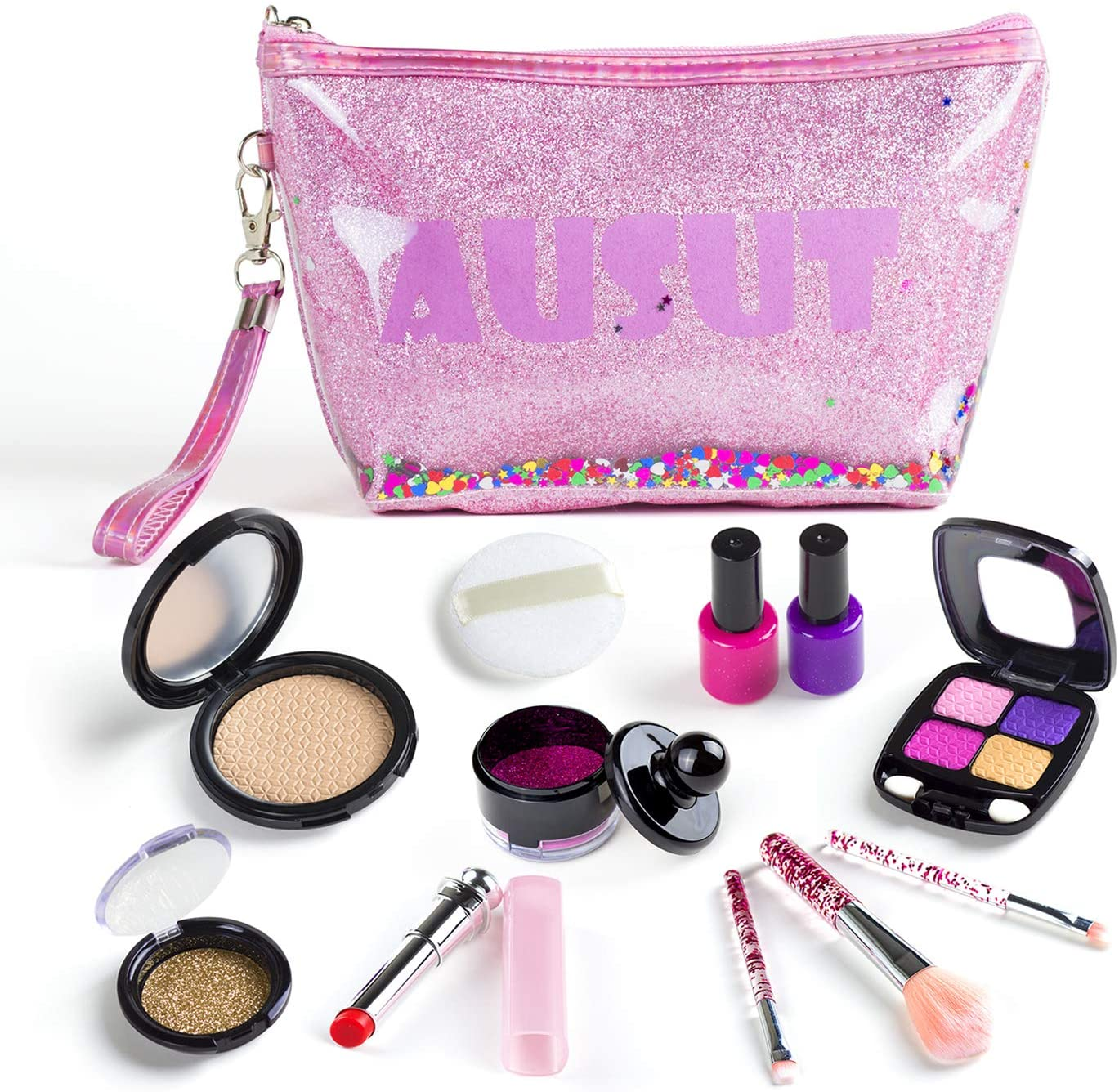 AUSUT Kids Makeup Kit for Girl - Pretend Make Up Princess Dress Up Play Set with Cosmetic Bag for Toddler Girls Birthday Ideas Toys (Not Real)
