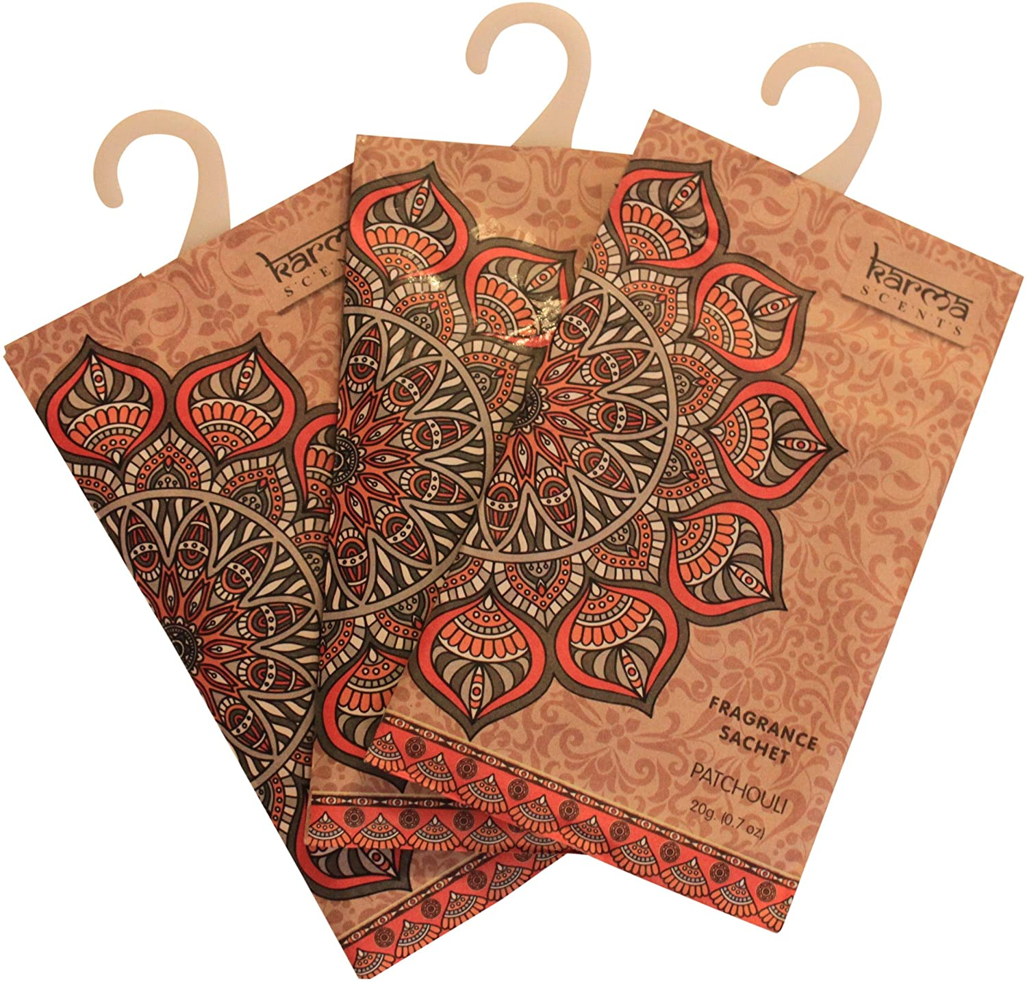 Karma Scents Premium Patchouli Scented Sachets for Drawers, Closets and Cars, Lovely Fresh Fragrance, Lot of 12 Bags