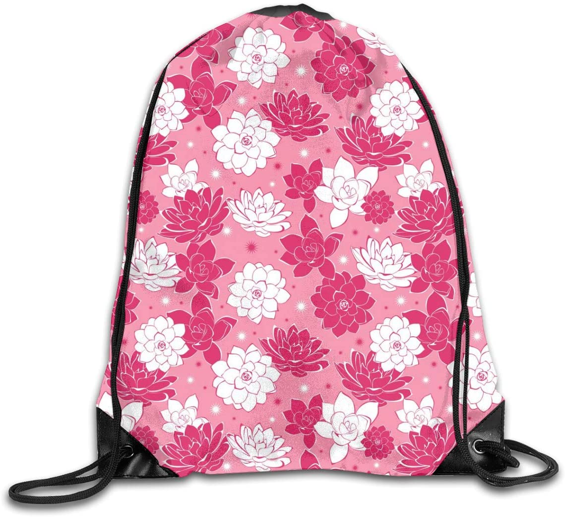 Pink And White Ink Flowers Drawstring Sports Backpack Gym Yoga Sackpack String Bag Travel Storage Sack For Women And Men Suitable For School Swim Running Beach Outdoor