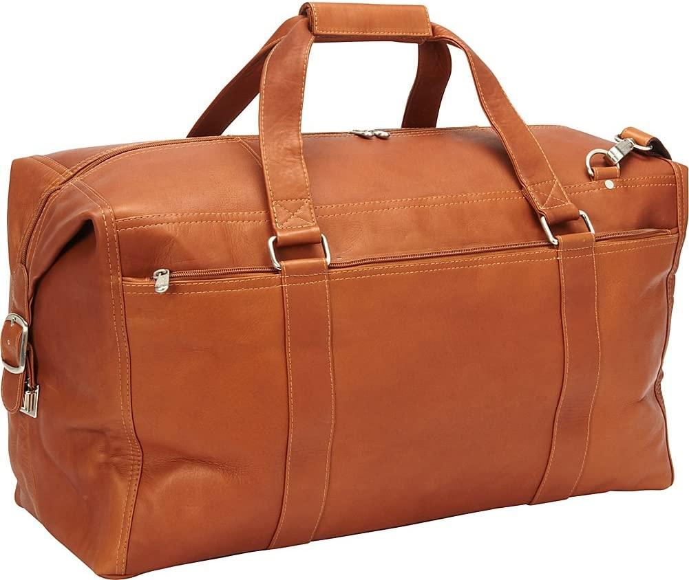 Piel Leather Extra Large Zip-Pocket Duffel, Saddle, One Size