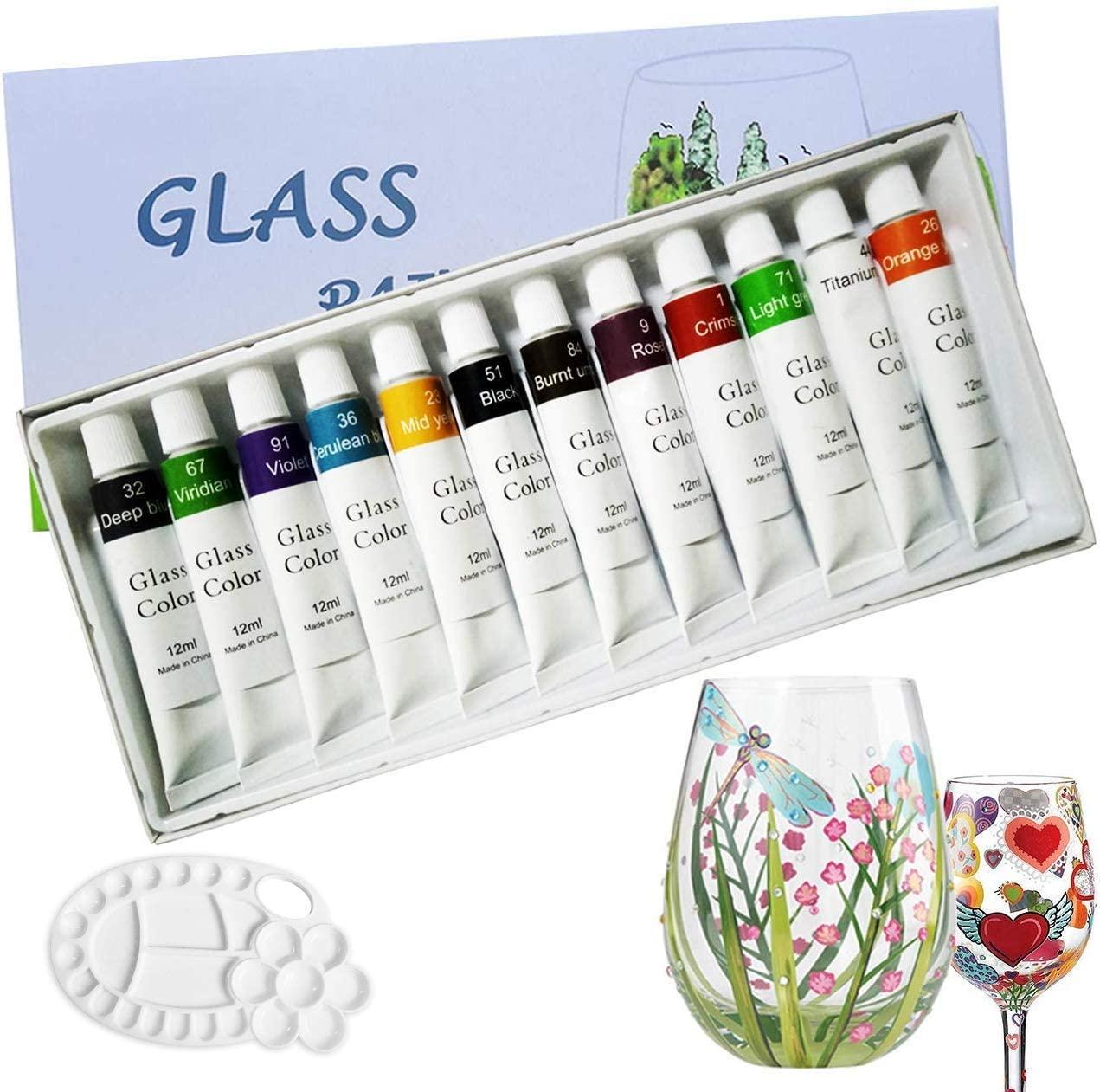 Magicdo Stained Glass Paint with Palette,Transparent Glass Window Paint Acrylic Enamel Paint Set Great for Wine Bottle, Light Bulbs, Ceramic (12 Colorsx0.4 Fl oz)
