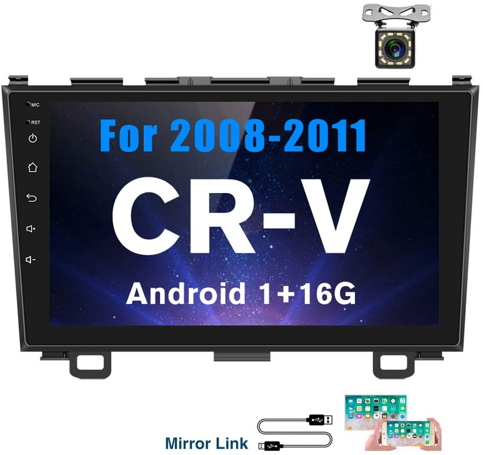Hikity Android Car Stereo Double Din for Honda CRV (08-11) 9 Inch Touch Screen Radio Bluetooth WiFi GPS FM Radio Support Android/iOS Phone Mirror Link with Dual USB Input & Backup Camera