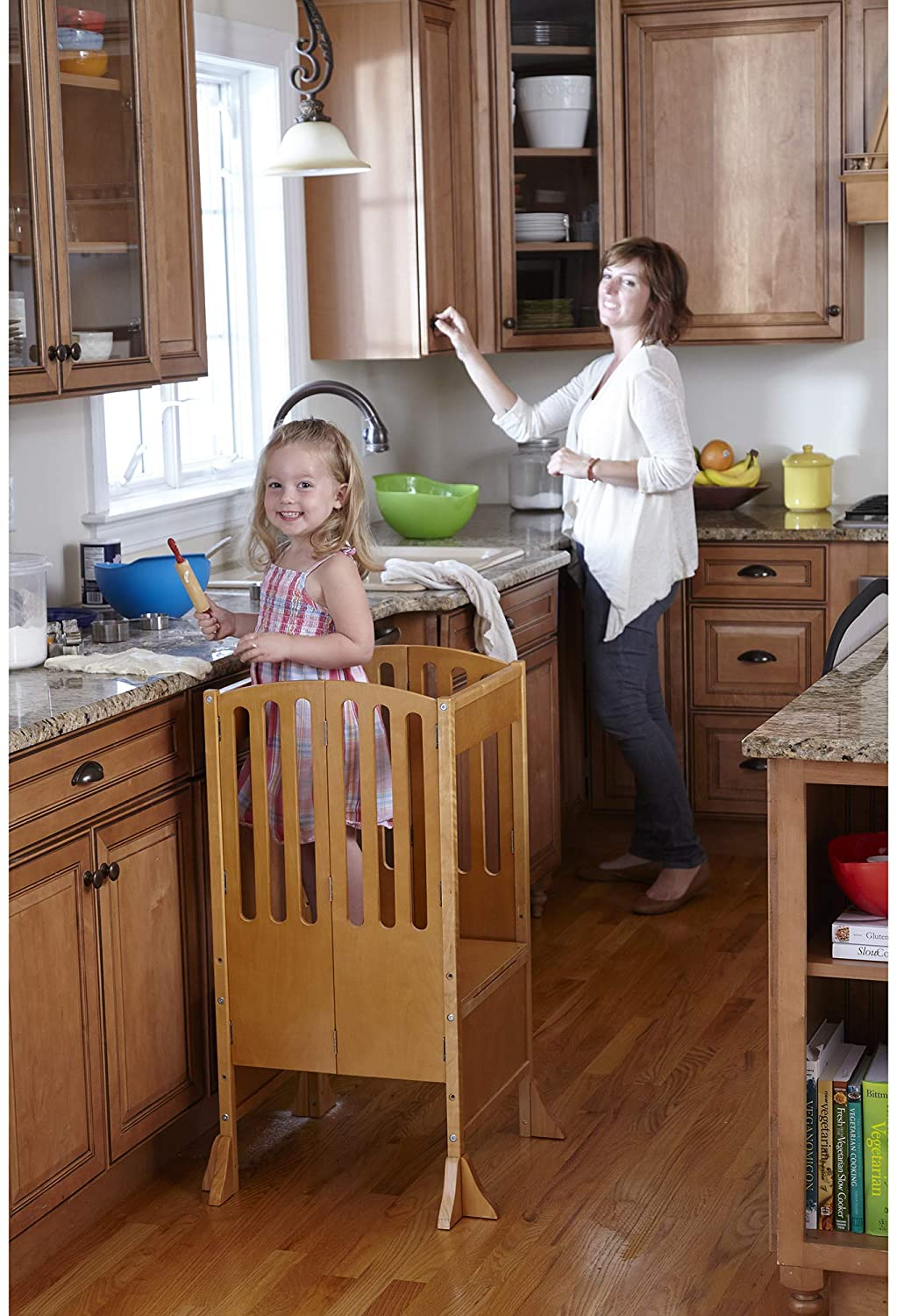 Guidecraft Contemporary Kitchen Helper Stool - Honey: W/Keeper and Non-Slip Mat: Adjustable Height Wooden Baking Tower, Folding Step Stool for Toddlers, Little Kids Learning Furniture