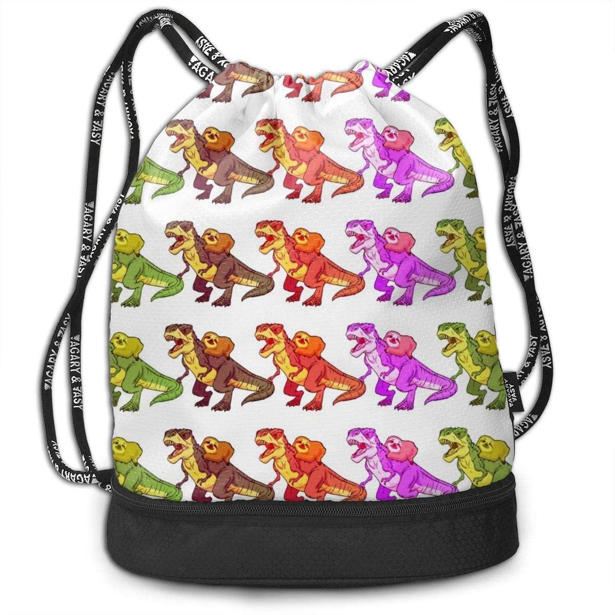 NiYoung Gym Drawstring Sports Bag Simple Quick Dry Bundle Backpack, Sloth Riding Dinosaur