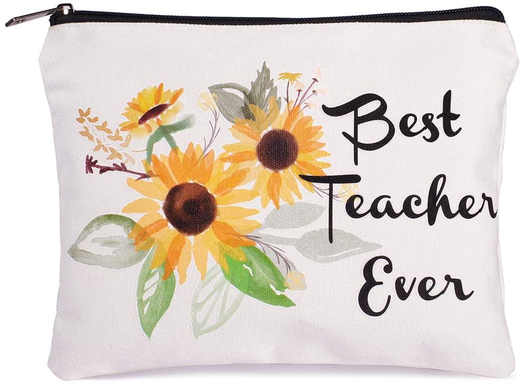 Teacher Gifts Best Teacher Ever Makeup Bag Teacher Appreciation Gifts Teacher Gifts for Women Teacher Pencil Pouch Preschool, Elementary, High School, Teacher Pencil Bag