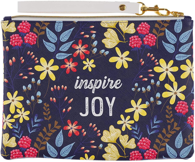 Zip Wallet Wristlet | Faux Leather Inspirational Multi-Purpose Zipper Pouch Case