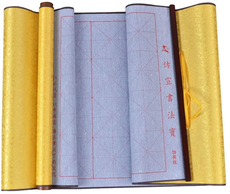 Tianjintang No Ink Needed Mi Zi Ge 米字格 Chinese Calligraphy Japanese Kanji Writing Magic Scroll for Learners 43 in x15in