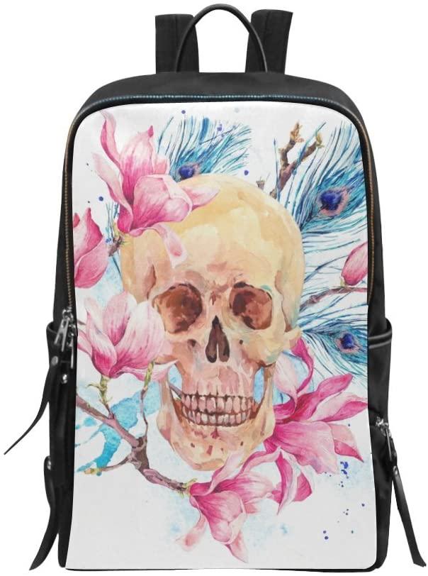 Bag Vintage Sugar Skull and Peony Flowers Wildflowers Butterfly Backpack Daypack