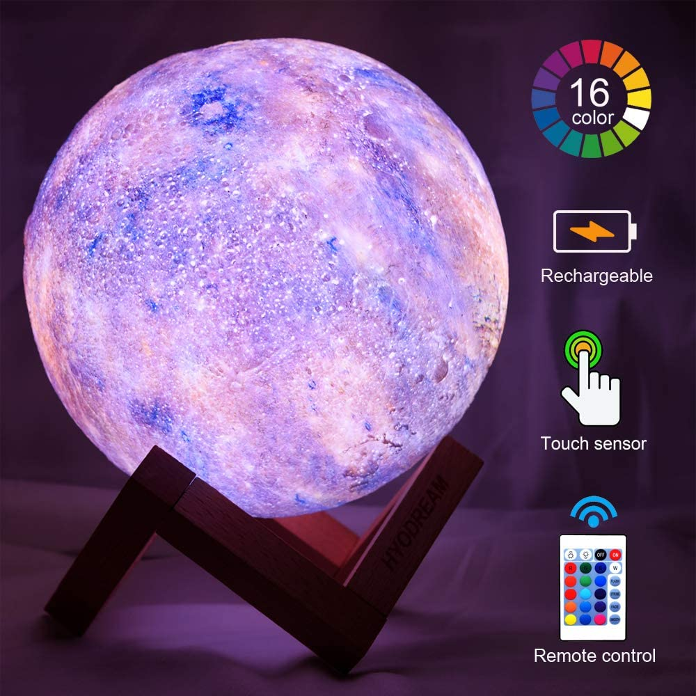 HYODREAM 3D Galaxy Lamp Starry Moon Night Light with Touch and Remote Control 16 Colors as Cool Lamp Gift for Boys or Girls(5.9 inch Mercury)