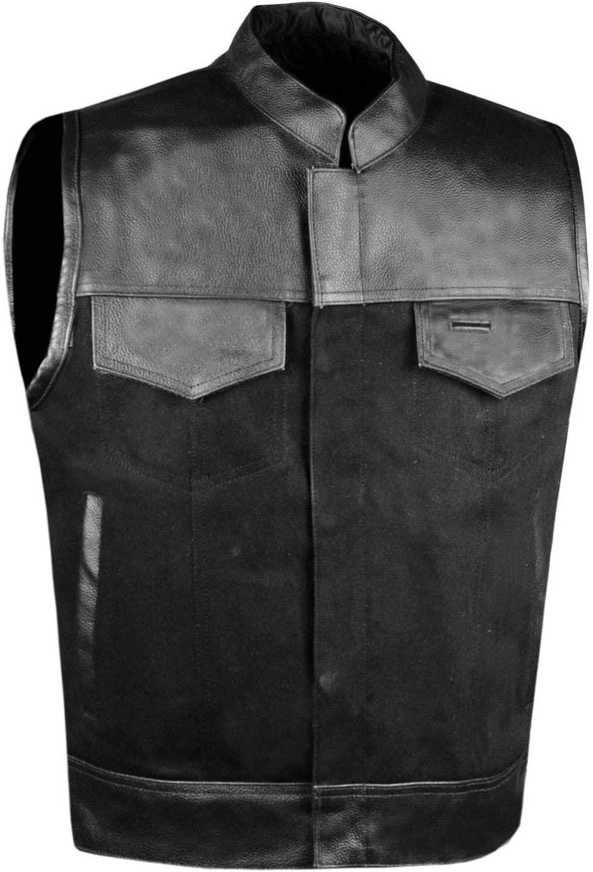 SOA Men's Leather and Denim Motorcycle Club Vest Gun Pockets Biker w/Armor 3XL