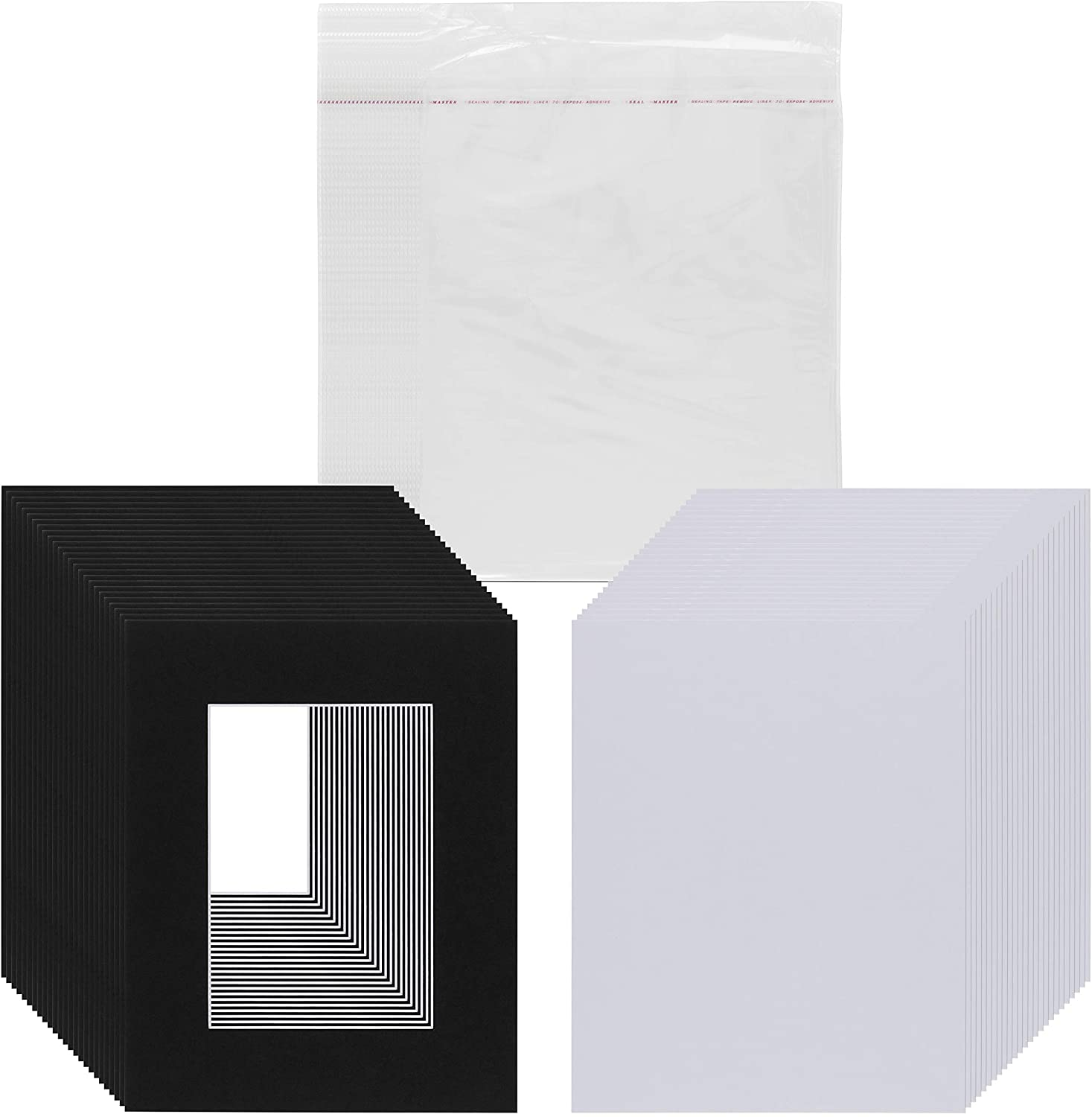 Pack of 25 8x10 Picture Mats Pre Cut for 5x7 Photos or Art, White Core Bevel, Set Includes Backing Board & Sealed Bags - Black