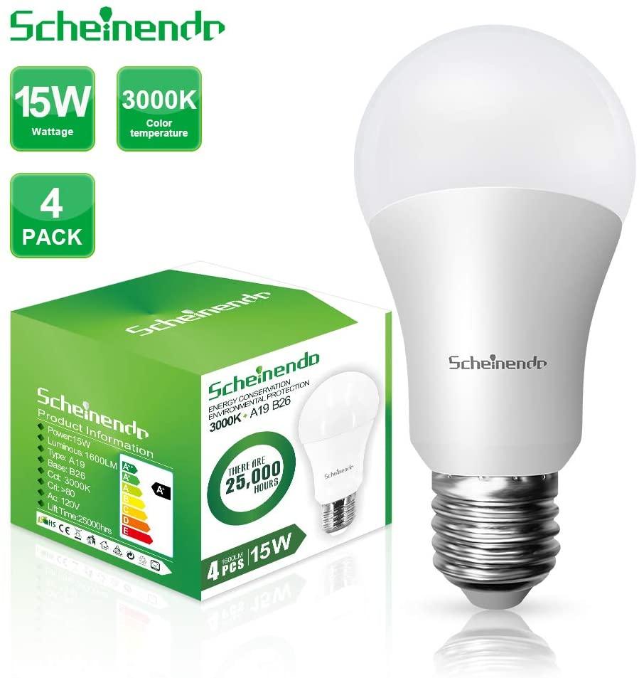 100W Equivalent LED Light Bulbs A19 LED Bulb 15W & Warm White 3000k 1600Lumens, Medium Base (E26) for Home Lighting Lamps Ceiling Light, Non-Dimmable Pack of 4 by Scheinenda