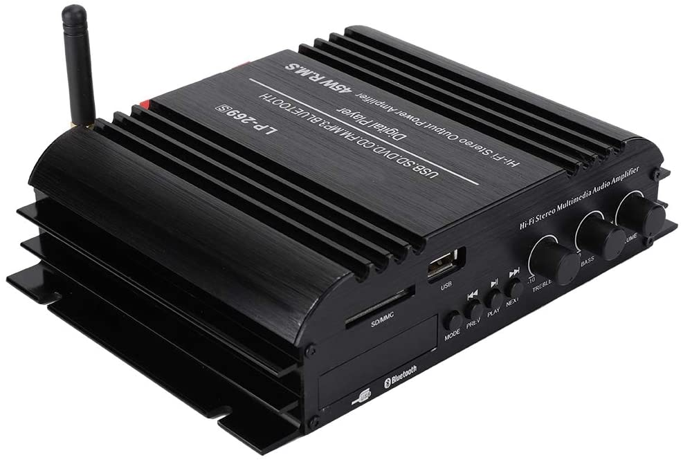 V BESTLIFE Power Amplifier, HiFi BT Multimedia 45W Digital Amplifier Player Audio Stereo Power Amp for Home and Car Audio Applications.(US Plug)