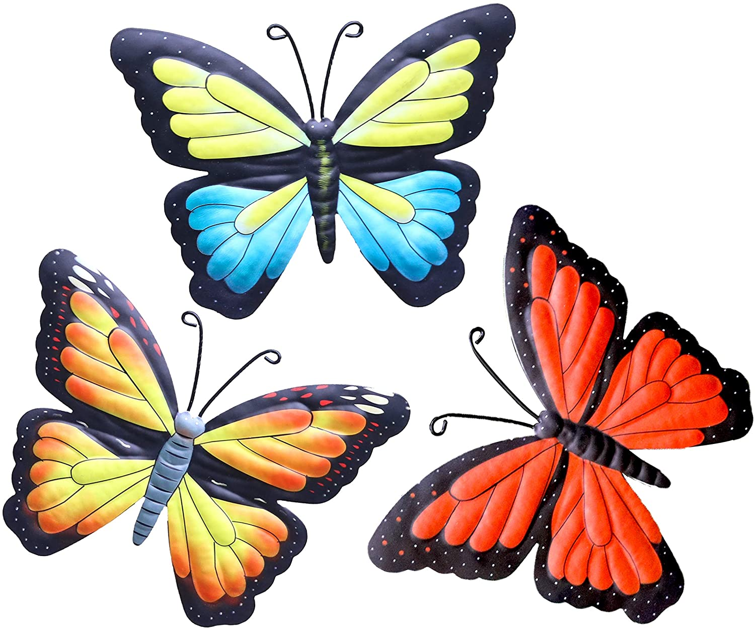 Hanizi 3 Pack Large Metal Butterfly Wall Decoration, 9.5 x 7.1 Inch Indoor Outdoor Wall Sculptures