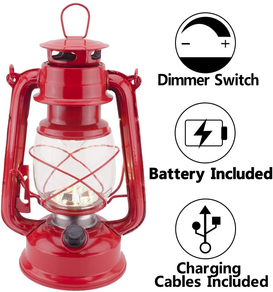 Rechargeable Vintage Hurricane Lantern, Warm White Battery Operated Lantern with Dimmable Switch, 15 LEDs Metal Hanging Lantern for Indoor or Outdoor Usage, Charging Cable and Battery Included (Red)