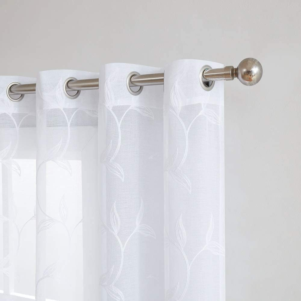 Warm Home Designs Pair of 2 Sheer White Faux-Linen Standard Size Curtain Panels with Beautiful White Color Stitched Leaf Embroidery. Each Grommet Drape is 54