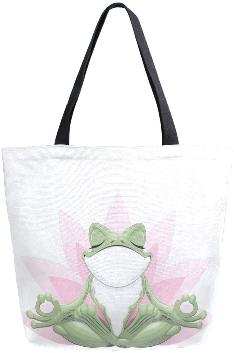 ZzWwR Funny Frog Doing Yoga Print Extra Large Canvas Shoulder Tote Top Storage Handle Bag for Gym Beach Weekender Travel Reusable Grocery Shopping