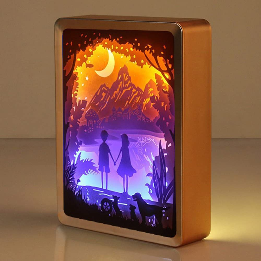 WOMHOPE Valentine's Day Gift 3D Papercut Light Boxes Frame Night Lights Paper Sculptures Night Lamp of Creative Shadow Paintings (Hand in Hand)