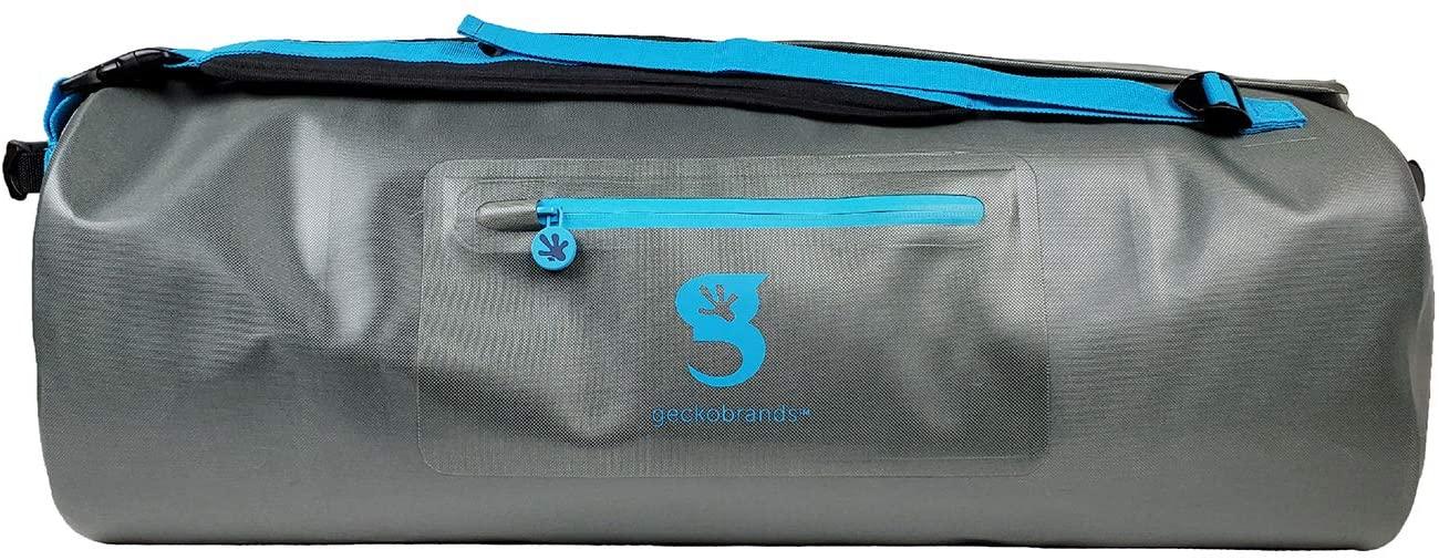 geckobrands Optixtreme 60L Waterproof PVC Duffle Bag, Grey/Neon Blue