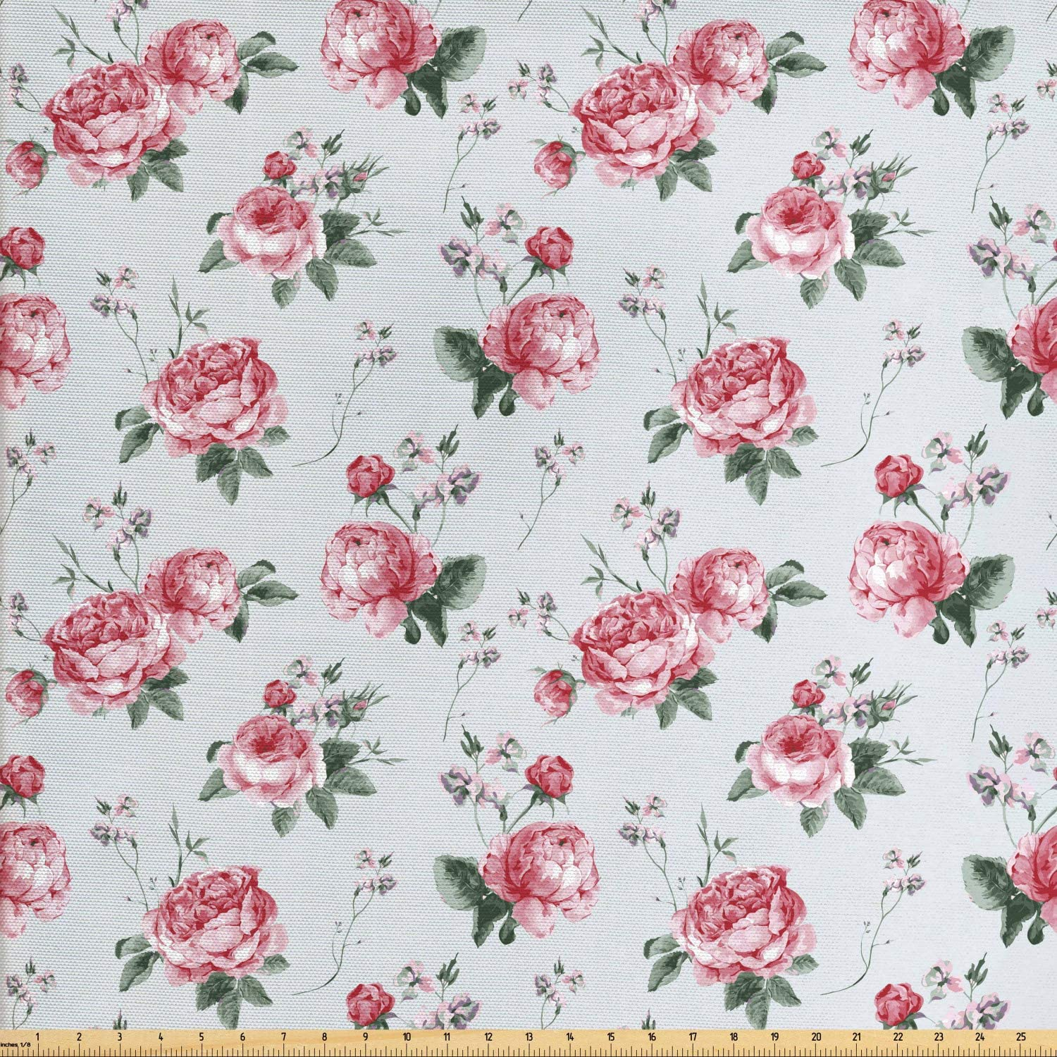 Ambesonne Rose Fabric by The Yard, Blooming English Rose Watercolor Painting Style Garden Shabby Form Wild Flowers, Decorative Fabric for Upholstery and Home Accents, 3 Yards, Blush Green